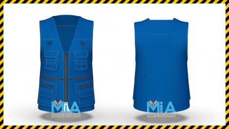 Áo đồng phục ghi lê màu xanh da đậm