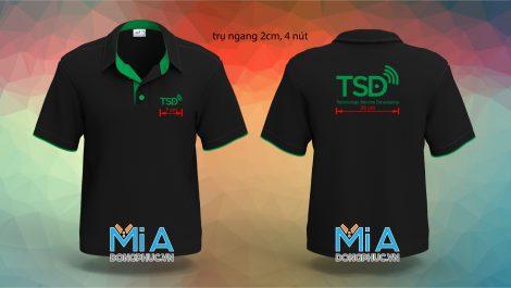 Áo thun cổ sơ mi trụ cài nút màu đen Công ty TSD