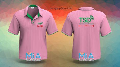 Áo thun cổ sơ mi trụ cài nút màu hồng Công ty TSD