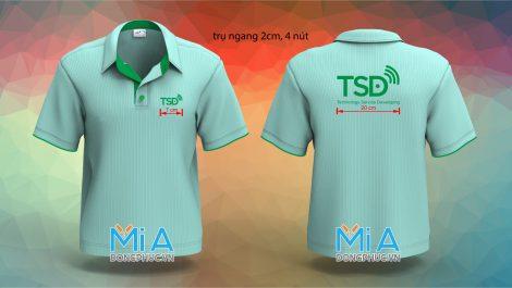 Áo thun cổ sơ mi trụ cài nút màu xanh ngọc Công ty TSD