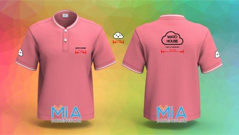 Áo thun đồng phục cổ bo ngắn trụ cài nút màu hồng sen
