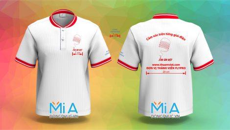 Áo thun đồng phục cổ bo ngắn trụ cài nút màu trắng bo đỏ sọc trắng