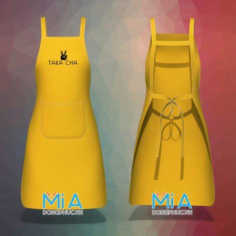 Đồng phục tạp dề dài dây chữ H màu vàng cúc túi nằm