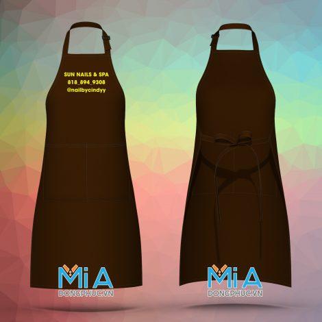 Đồng phục tạp dề dài màu nâu túi lớn ngăn đôi