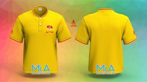 Mẫu áo đồng phục cổ bo ngắn trụ cài nút màu vàng