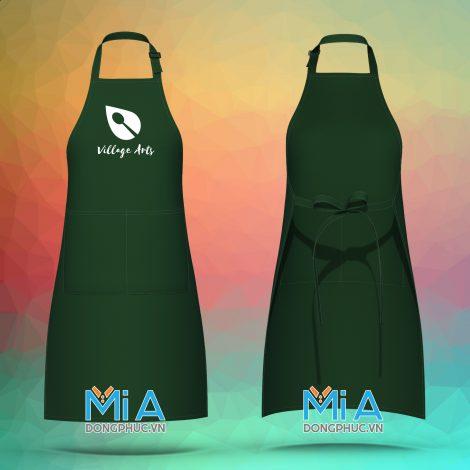 Sản xuất tạp dề dài đồng phục dạy vẽ màu xanh rêu