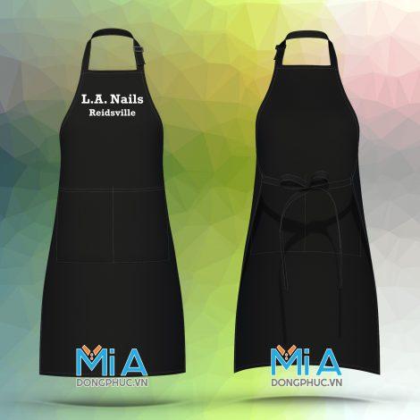 Tạp dề dài màu đen túi lớn ngăn đôi