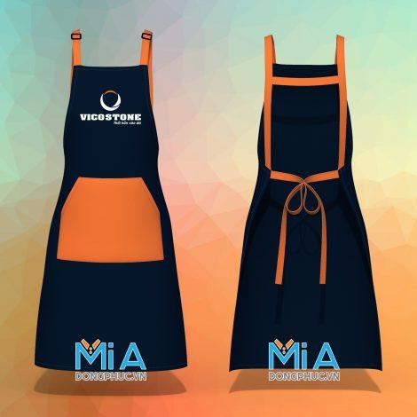 Tạp dề đeo vai dây chữ H màu xanh đen phối cam