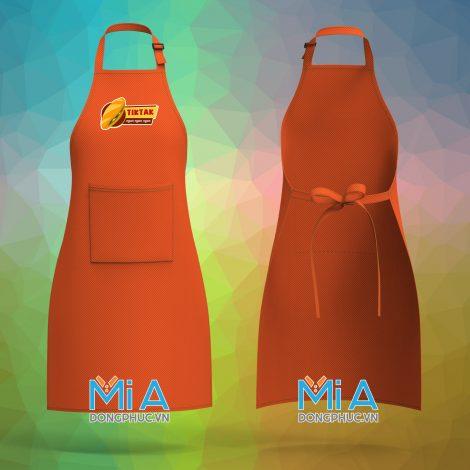 Thiết kế tạp dề đẹp làm đồng phục màu cam đỏ