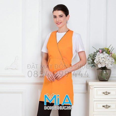 May tạp dề 2 mảnh màu cam