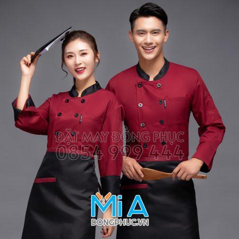 Áo đầu bếp màu đỏ phối đen