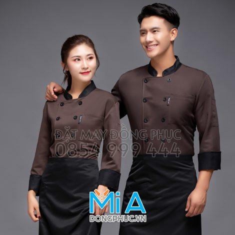 Áo đầu bếp màu nâu phối đen