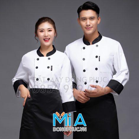 Áo đầu bếp màu trắn phối đen