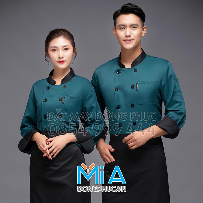 Áo đầu bếp màu xanh cô ban phối đen
